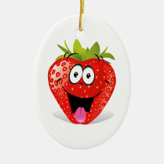 Funny Strawberry Face Sticking Out Tongue Double-Sided Oval Ceramic Christmas Ornament