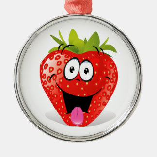 Funny Strawberry Face Sticking Out Tongue Metal Ornament