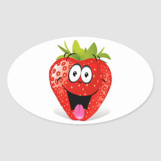 Funny Strawberry Face Sticking Out Tongue Oval Sticker