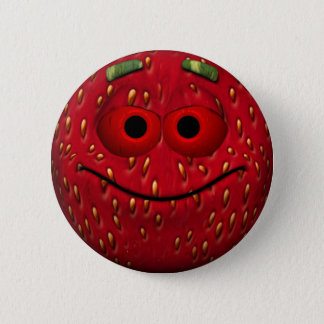 Funny Strawberry Smiley Pinback Button