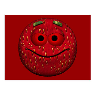 Funny Strawberry Smiley Post Cards