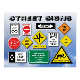 Funny Street Road Signs Postcards