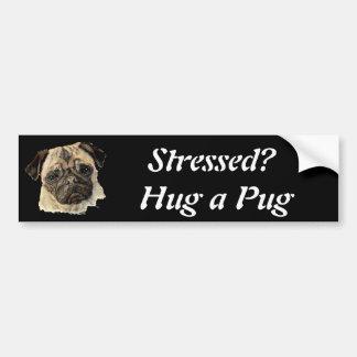 Funny, Stressed? Hug a Pug!, Dog, Pet, Animal Car Bumper Sticker