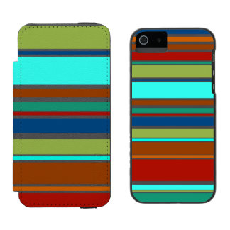 Funny Stripes colored XII + your background color Wallet Case For iPhone SE/5/5s