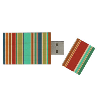 Funny Stripes colored XII + your background color Wood USB Flash Drive