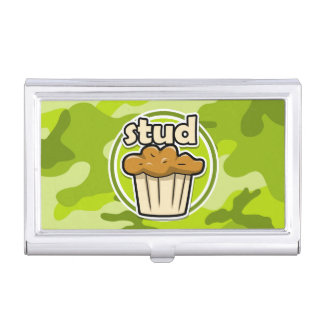 Funny Stud Muffin on green camo Case For Business Cards