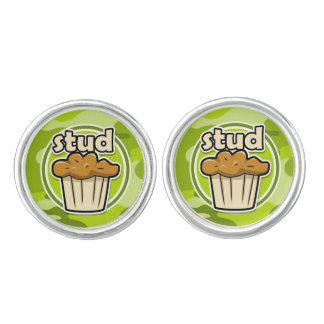 Funny Stud Muffin on green camo Cufflinks