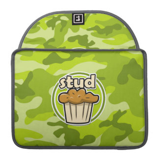 Funny Stud Muffin on green camo MacBook Pro Sleeves
