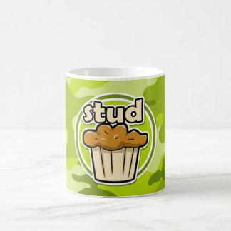 Funny Stud Muffin on green camo Classic White Coffee Mug