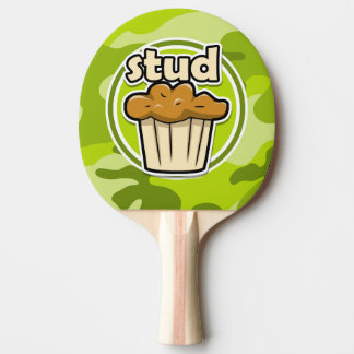 Funny Stud Muffin on green camo Ping-Pong Paddle