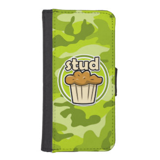 Funny Stud Muffin on green camo Phone Wallet