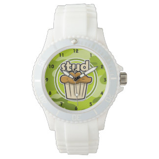 Funny Stud Muffin on green camo Wristwatches