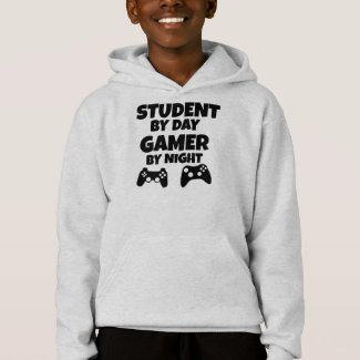 Funny student by day gamer by night boys hoodie