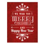 Funny stylish retro Merry Christmas greeting Postcard