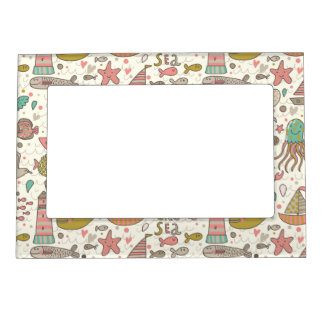 Funny Summer Pattern With Ships Magnetic Frame