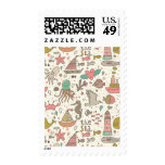 Funny Summer Pattern With Ships Postage Stamp