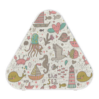 Funny Summer Pattern With Ships Speaker