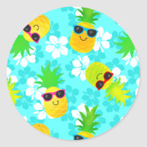 Funny Summer Tropical Pineapples Classic Round Sticker