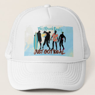 Funny summer zombie beach party just got real trucker hat