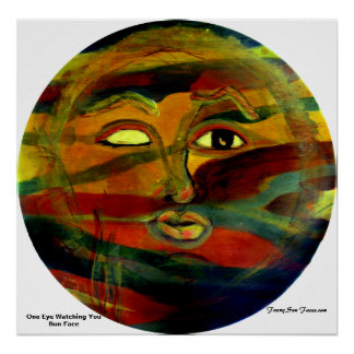 Funny Sun Faces, One Eye Watching You Poster/Print Poster