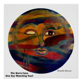 Funny Sun Faces, One Eye Watching You Print/Poster Poster