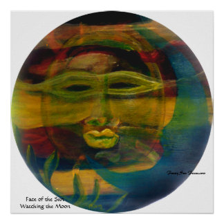 Funny Sun Faces, Sun Watching Moon Prints/Posters Poster