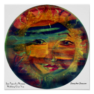 Funny Sun Faces, Woman Watching Over You Prints