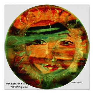 Funny Sun Faces, Woman Watching You Poster/Print Poster
