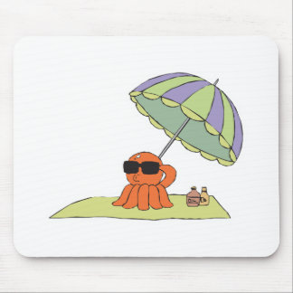 funny sun tanning beach octopus mouse pad
