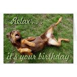 Funny sunbathing dog birthday card