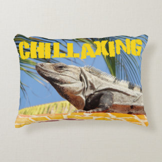 Funny Sunbathing Iguana Decorative Pillow
