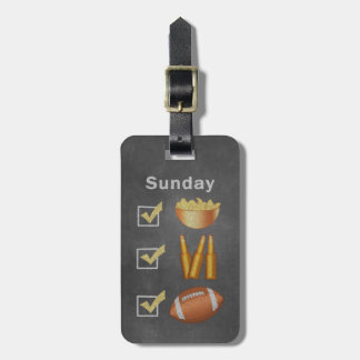 Funny Sunday Football Checklist Bag Tag