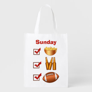 Funny Sunday Football Checklist Grocery Bag