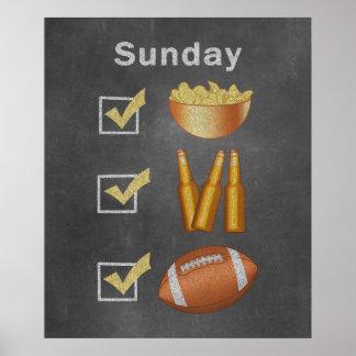 Funny Sunday Football Checklist Poster