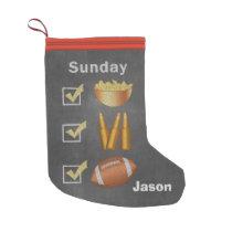 Funny Sunday Football Checklist Small Christmas Stocking