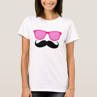 Funny Sunglasses Mustache Ladies T-Shirt