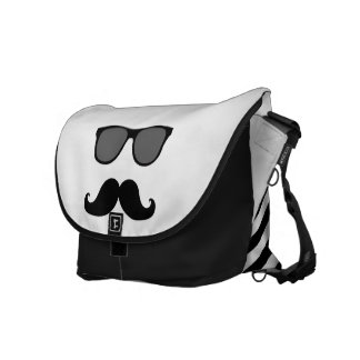 Funny Sunglasses with Mustache   Black Messenger Bag