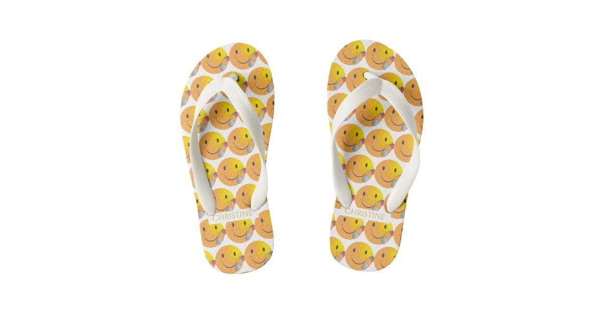 Funny Sunny Happy Emoji Eating Ice Cream Kids Flip Flops Zazzlecom