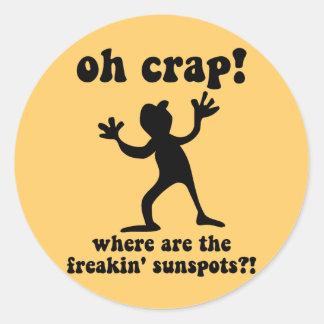 Funny sunspots round sticker