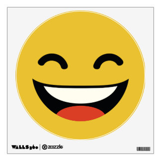 Funny super bright smile emoji wall decal