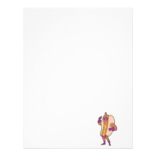 funny super hero hot dog character letterhead