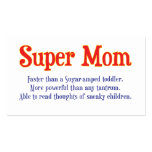 Funny Super Mom gifts and cards for your super mom Double-Sided Standard Business Cards (Pack Of 100)