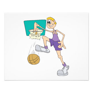 funny super tall basketball player making dunk full color flyer