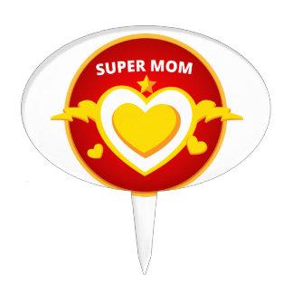 Funny Superhero Flash Mom emblem Cake Topper