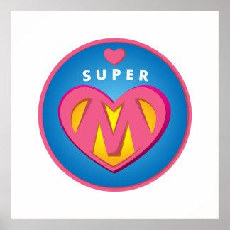 Funny Superhero Superwoman Mom emblem Poster