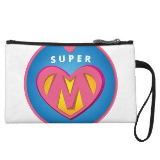 Funny Superhero Superwoman Mom emblem Wristlet Wallet