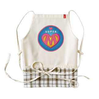 Funny Superhero Superwoman Mom emblem Zazzle HEART Apron