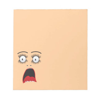 Funny Suprized lady face Memo Note Pads