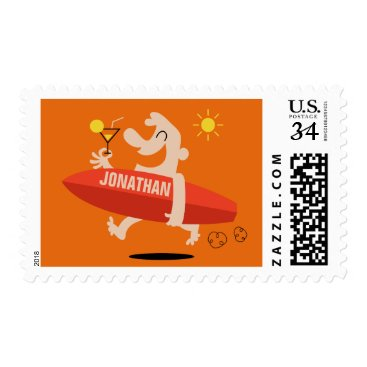 Beach Themed Funny Surfer custom name postage stamps