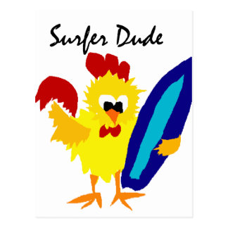Funny Surfer Dude Rooster Cartoon Postcard